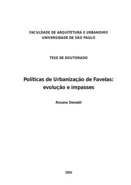 Políticas de Urbanização de Favelas: evolução e impasses - PUC-SP