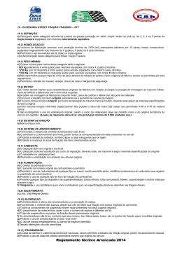 Regulamento técnico Arrancada 2014