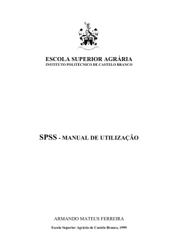 ESCOLA SUPERIOR AGRÊRIA SPSS - MANUAL DE