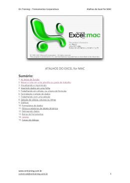 Atalhos do Excel for MAC