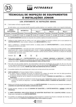 PROVA 33 - TÉCNICO(A) DE INSPEÇÃO DE EQUIPAMENTOS E