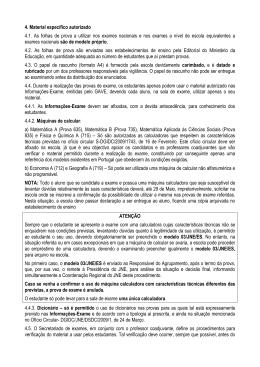 4. Material específico autorizado 4.1. As folhas de prova a utilizar