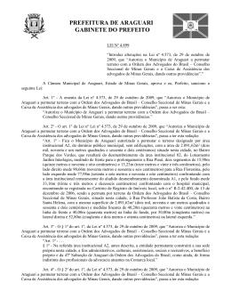 PROJETO DE LEI Nº - Prefeitura Municipal de Araguari