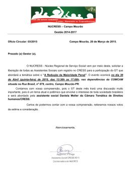 Confira ofício do NUCRESS Campo Mourão para - CRESS-PR