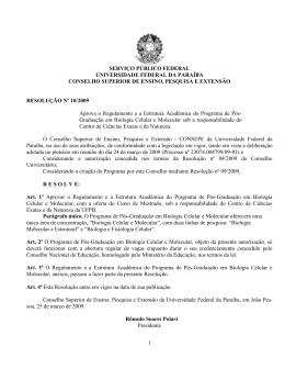 resolução nº 10/ 2009 - Universidade Federal da Paraíba