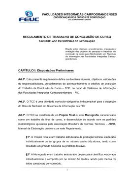 REGULAMENTO DE TRABALHO DE CONCLUSÃO DE CURSO