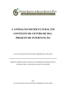 A ANIMAÇÃO SOCIOCULTURAL EM CONTEXTO DE CENTRO DE