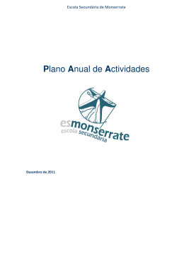 Plano Anual de Actividades - Escola Secundária de Monserrate