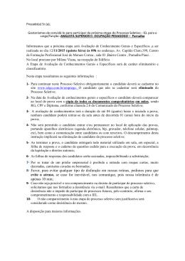 PHB -convocação de candidatos para proxima etapa