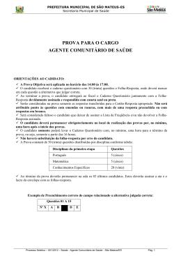 Prova - Prefeitura de São Mateus