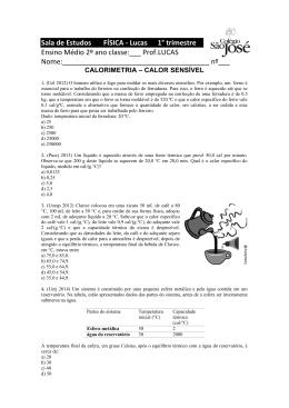 Calorimetria - calor sensível - 2º ano