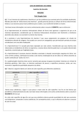 LISTA DE EXERCÍCIOS I (Pré-ENEM) Supletivo São Benedito