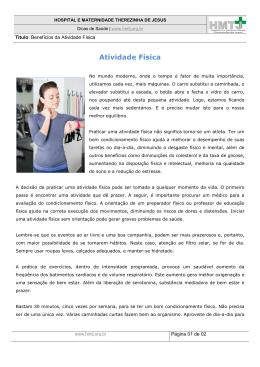 Atividade Física - Hospital Maternidade Therezinha de Jesus