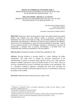 PRÁTICAS CORPORAIS/ATIVIDADE FISICA: PRODUZINDO