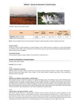 ANGOLA – Quedas de Kalandula e Fazenda Cabuta Quedas de