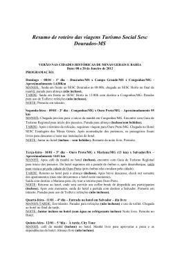 Resumo de roteiro das viagens Turismo Social Sesc Dourados-MS