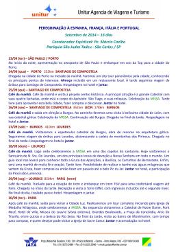 PEREGRINAÇÃO À ESPANHA, FRANÇA, ITÁLIA E PORTUGAL