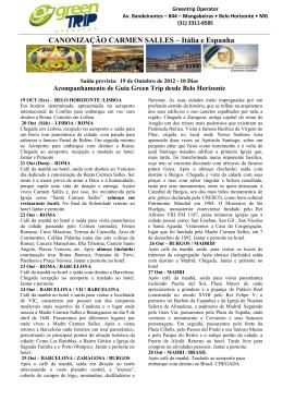 CANONIZAÇÃO CARMEN SALLES – Itália e Espanha