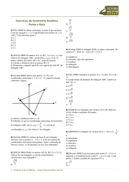 Exercícios de Geometria Analítica Ponto e Reta