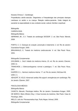 Estudos Clínicos I - Cardiologia Propedêutica cárdio