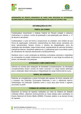 INFORMAÇÕES DO PPC PERFIL DO CURSO Contextualizar