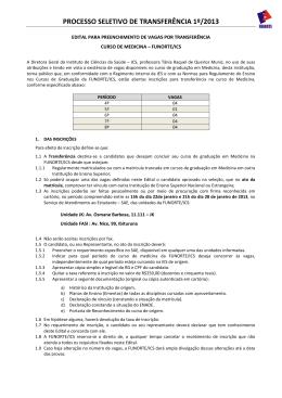 PROCESSO SELETIVO DE TRANSFERÊNCIA 1º/2013