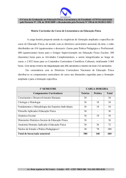 Matriz Curricular do Curso de Licenciatura em