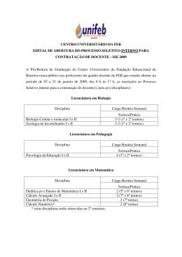 CENTRO UNIVERSITÁRIO DA FEB EDITAL DE
