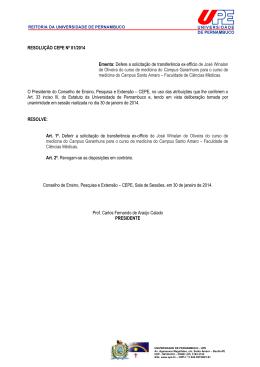 resoluções-cepe-2014 - Hospital da Restauração