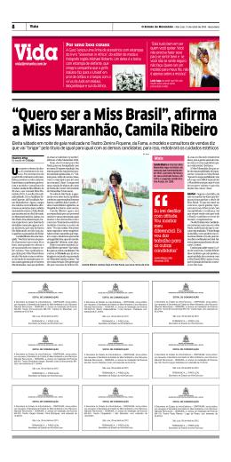 """""""Quero ser a Miss Brasil"""", afirma a Miss Maranhão, Camila Ribeiro"""
