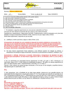 FÍSICA AVALIAÇÃO WILSON II UNIDADE