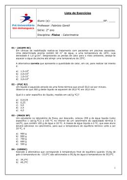 1 Lista de Exercício ss Aluno (a): . ____ Professor: Fabrízio Gentil