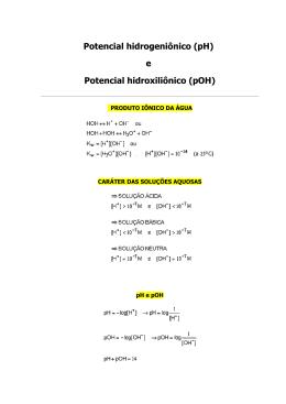 e Potencial hidroxiliônico (pOH)