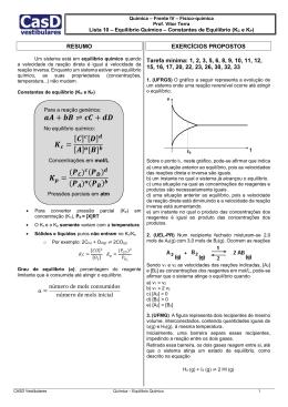 Lista 10 - Constantes de equilíbrio (Kc e Kp)