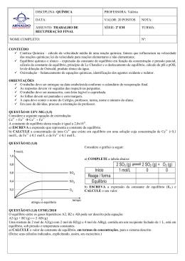 CONTEÚDO Cinética Química – cálculo da