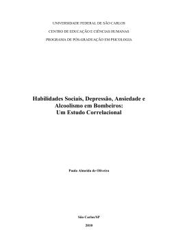 Habilidades sociais, depressão, ansiedade e alcoolismo
