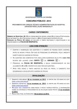 Prova - Universidade Federal da Paraíba
