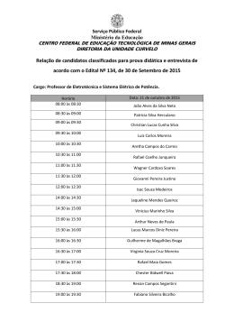 Relação de candidatos classificados para prova didática - cefet-mg
