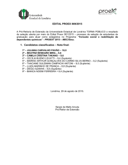 EDITAL PROEX 069/2015 1. Candidatos classificados – Nota final: