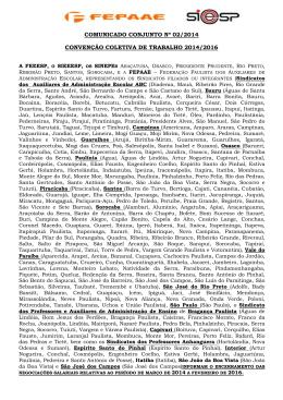 COMUNICADO CONJUNTO Nº 02/2014 CONVENÇÃO