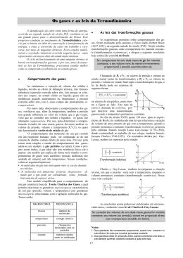 Os gases e as leis da Termodinâmica
