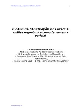O CASO DA FABRICAÇÃO DE LATAS - Portal Ergonomia no Trabalho