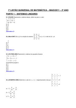 1º listão quinzenal de matemática – maio/2011