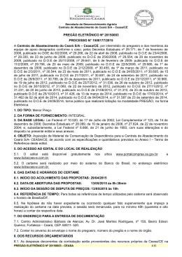PREGÃO ELETRÔNICO Nº 20150003 PROCESSO N° 1500177