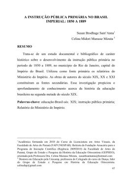 A INSTRUÇÃO PÚBLICA PRIMÁRIA NO BRASIL IMPERIAL: 1850 A