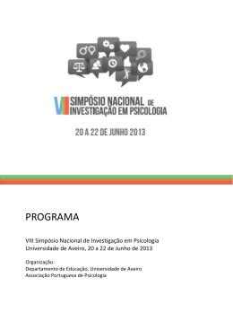 Programa Completo - Associação Portuguesa de Psicologia