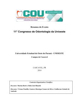 Resumos do Evento 11° Congresso de Odontologia da Unioeste