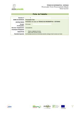 Processador Texto Processamento Edição Ficha - pradigital