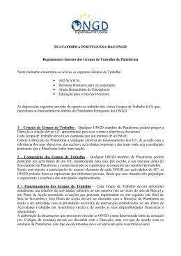 Regulamento dos Grupos de Trabalho da Plataforma