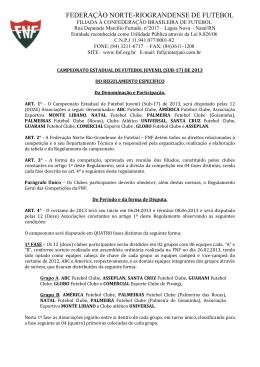 Regulamento SUB 17 de 2013